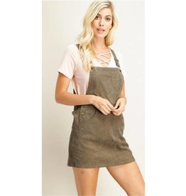 Awesome In Autumn Overall Dress- Olive