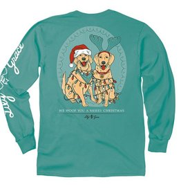 LG-Christmas Lights Dog-Longsleeve-Seafoam