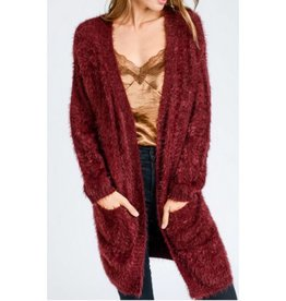 The Smile On Your Face Cardigan- Wine