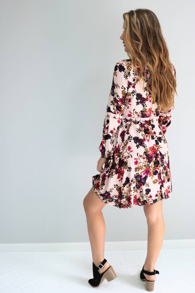 Long Sleeve Floral Dress With Lace Trim