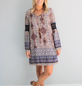 Bell Sleeve Patterned Dress
