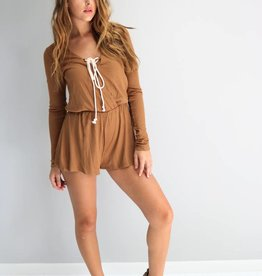 Lace Up Camel Romper