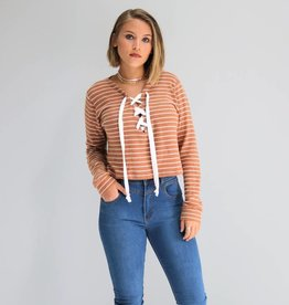 Cropped Long Sleeve Lace Up Sweater
