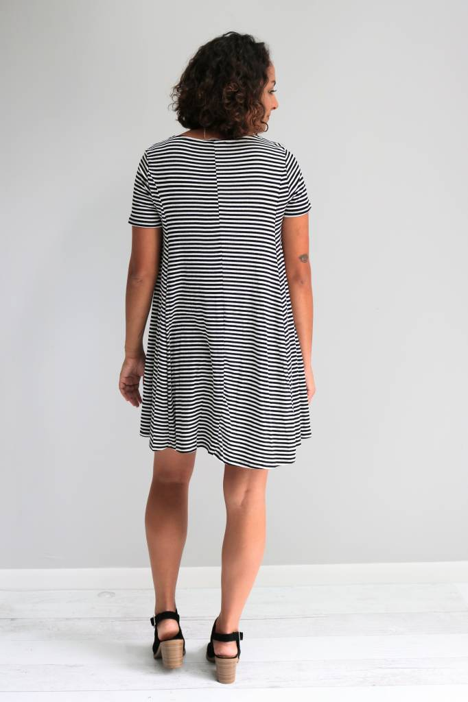 Striped Lace Up Swing Dress