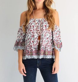 Rust Pattern Cold Shoulder Top
