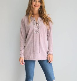 Dusty Mauve Lace Up Top