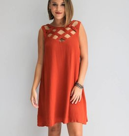 Rust Cut-Out Swing Dress