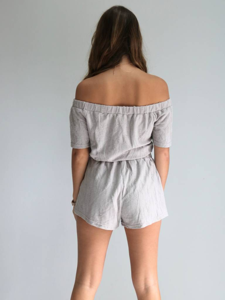 Distressed Lace-Up Romper