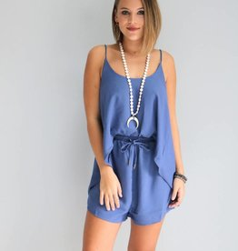 Blue Front Tucked Romper