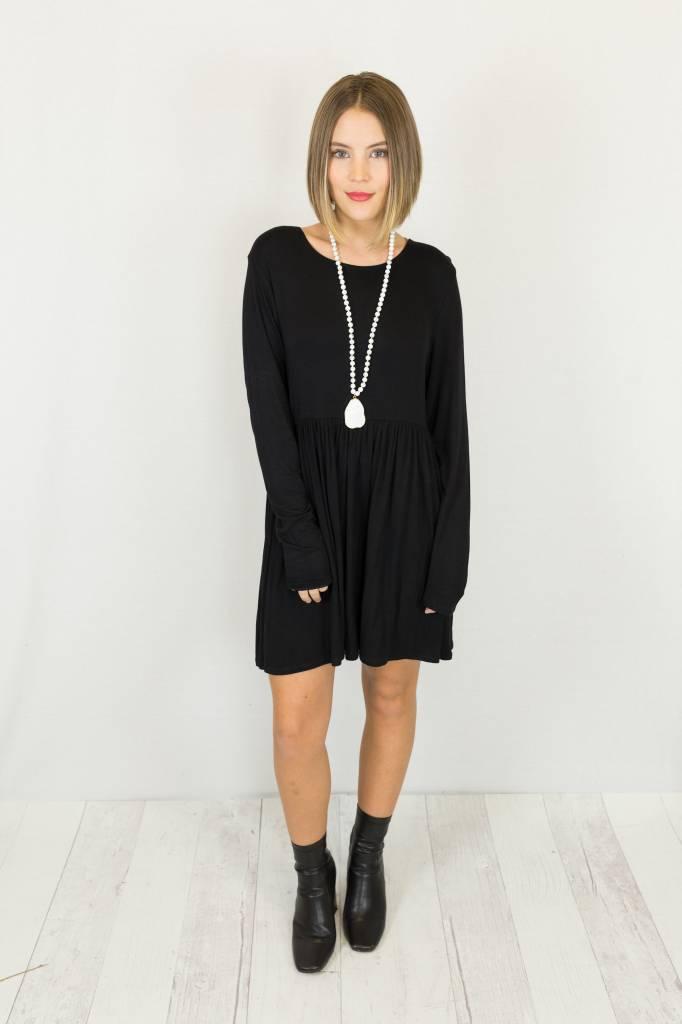 Black Babydoll Long Sleeve Dress