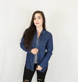 Dark Wash Button Up Denim Top