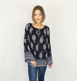 Navy & White Bell Sleeve Boho Top