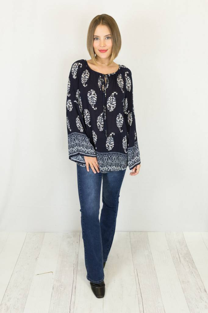 Navy & White Bell Sleeve Top