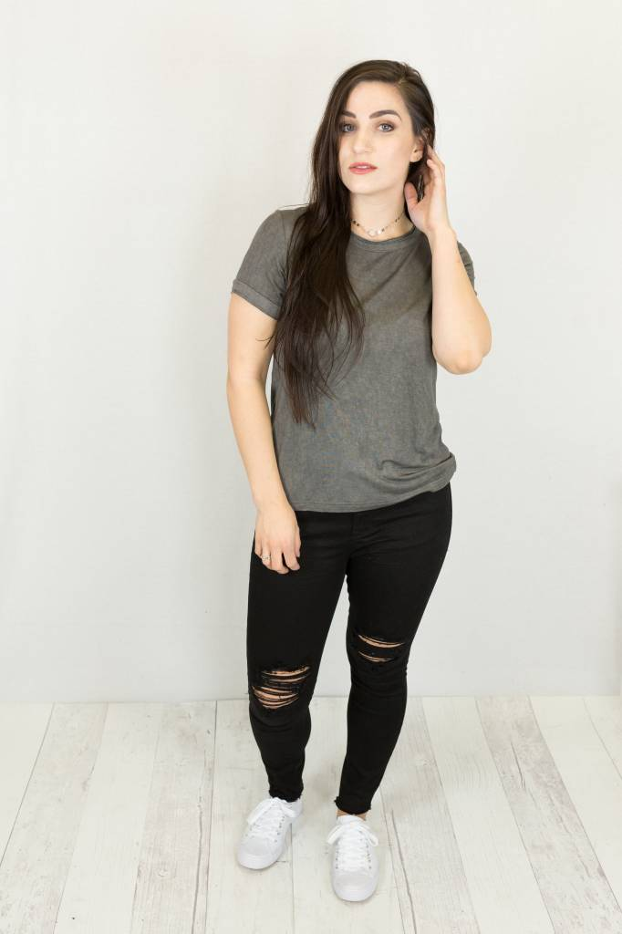 Vintage Wash Unfinished Hem Tee