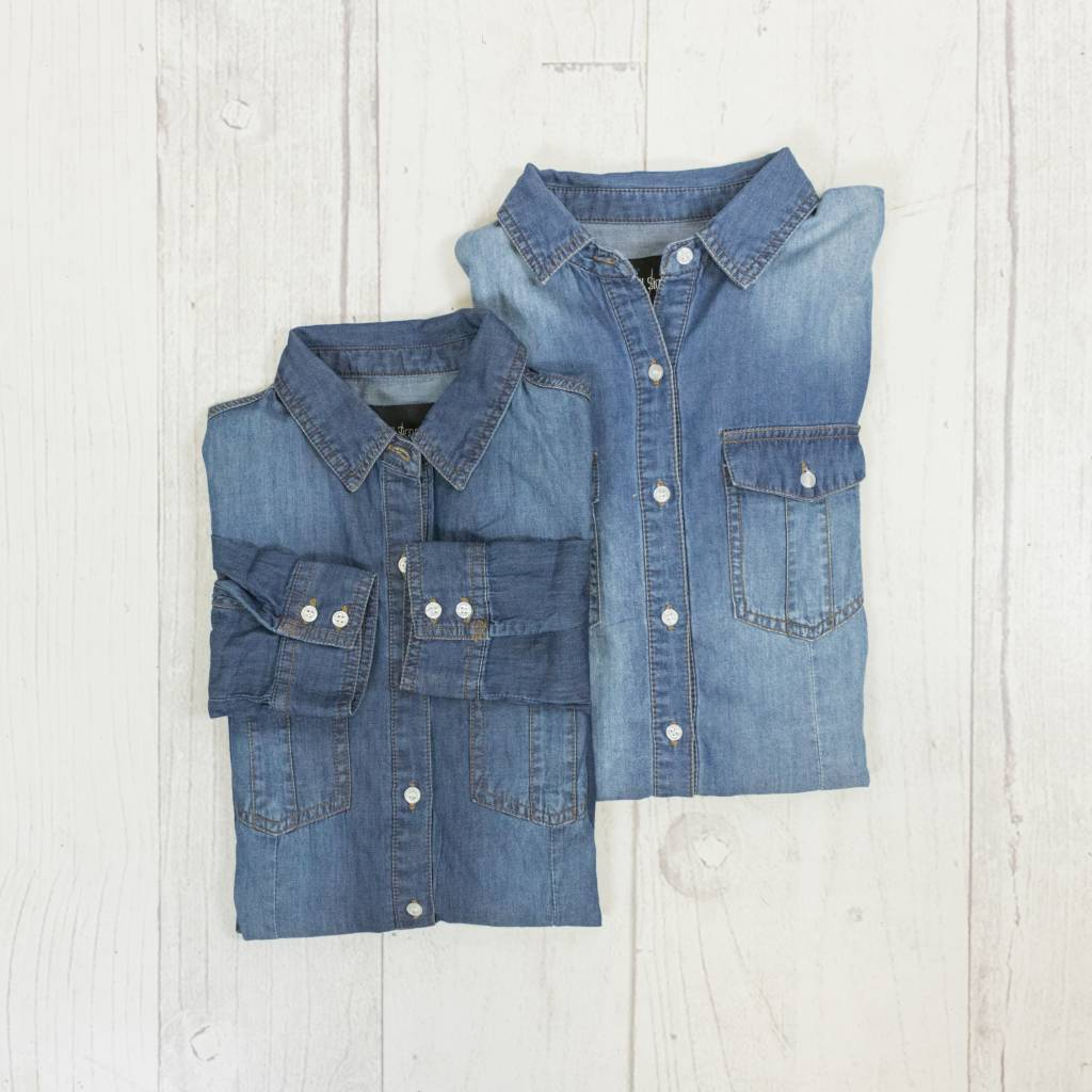 Fitted Button Up Denim Top