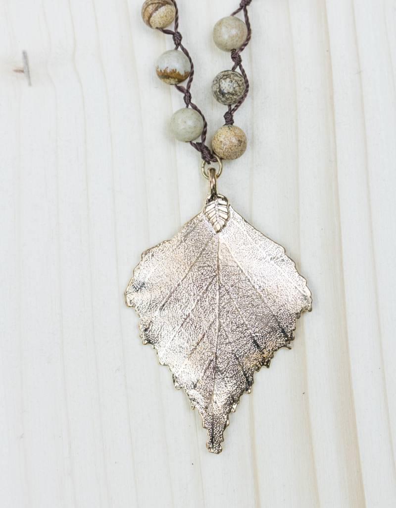 Golden Leaf Brown Pendant Necklace
