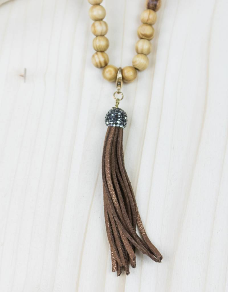 Wooden Beaded Necklace With Brown Tassel