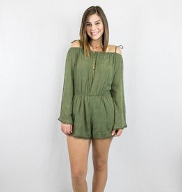 Olive Off-The-Shoulder Romper