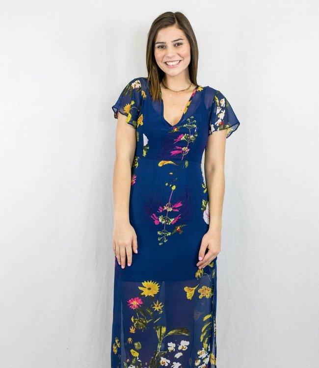 Navy Floral Print Maxi