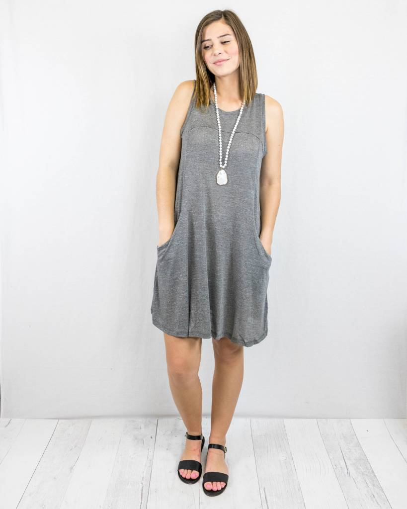 Grey Swing Dress With Pockets