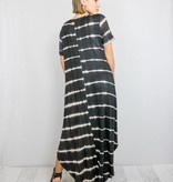 Black Tie-Dye Maxi Dress