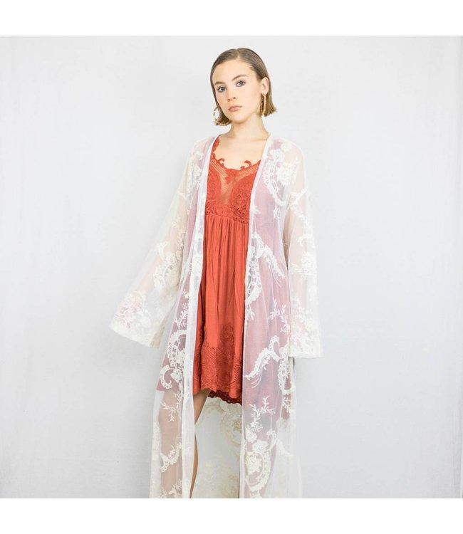 Cream Lace Kimono Sweeper