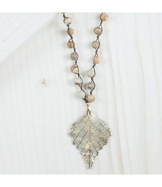 Golden Leaf Brown Pendant Necklace