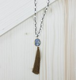 White Beaded Stone Necklace With Tassel