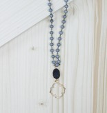 Gray Beaded Necklace With Black Stone