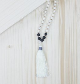 Black and White Beaded Tassel Necklace