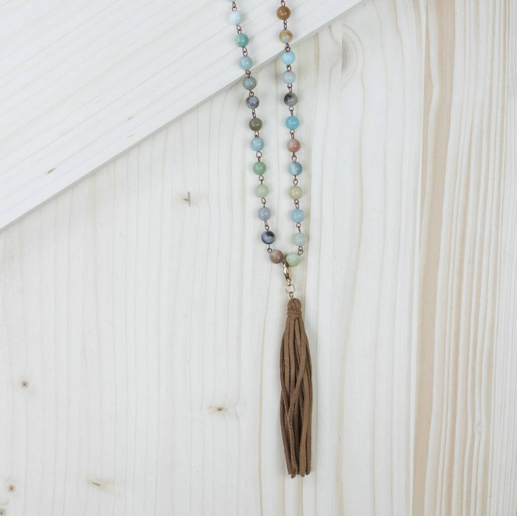 Multicolored Beaded Necklace With Brown Tassel