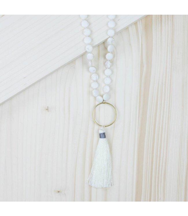 White Tassel Necklace