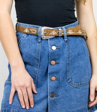 Brown Belt with Embroidering