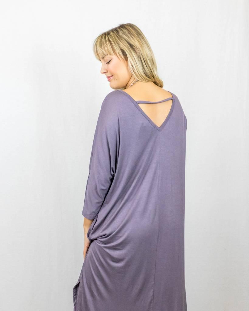 3/4 Sleeve Maxi Dress With Pockets