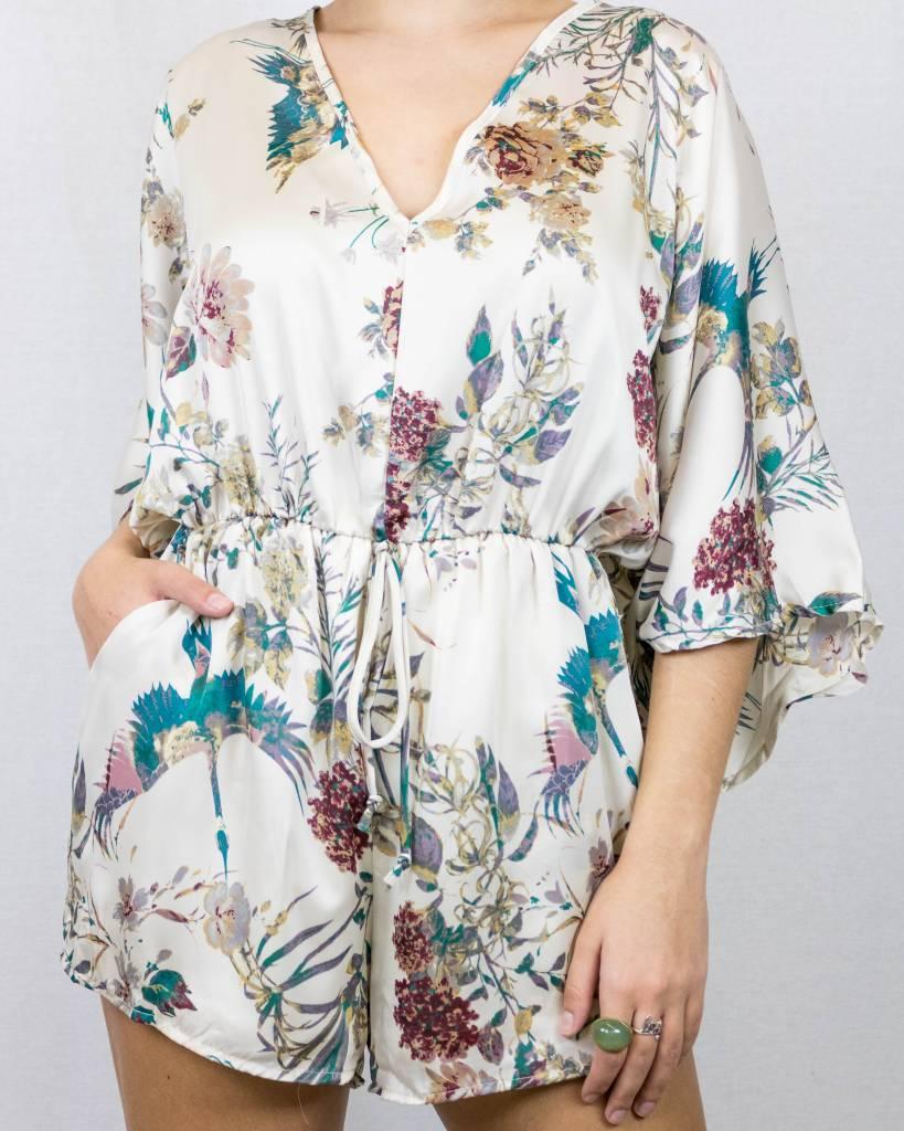 Satin Floral Print Romper