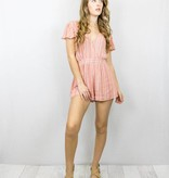 Coral Lace Up Romper