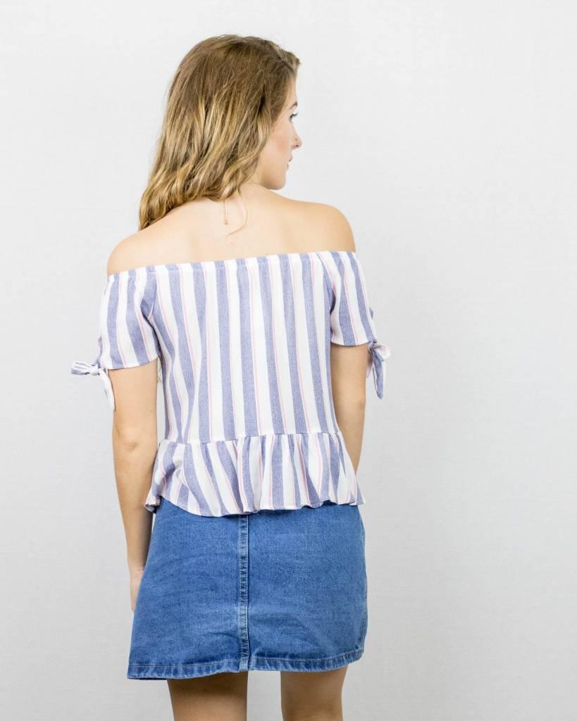 Off The Shoulder Striped Top