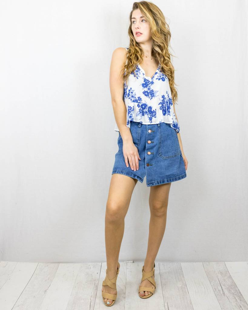 Blue Floral Cropped Tank