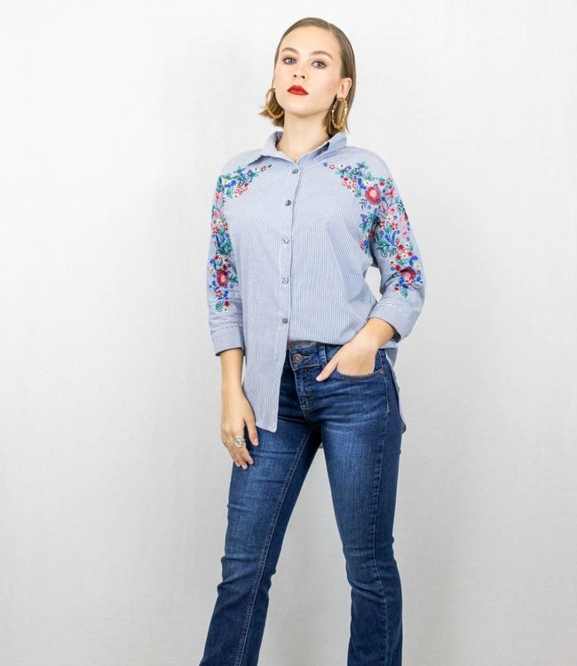 Navy Striped Embroidered Blouse