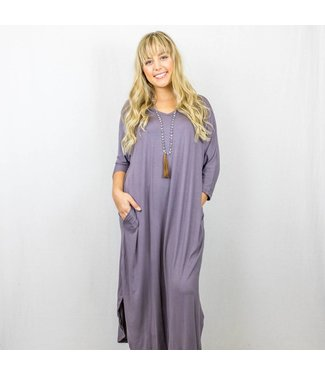 3/4 Sleeve Maxi Dress With Pockets
