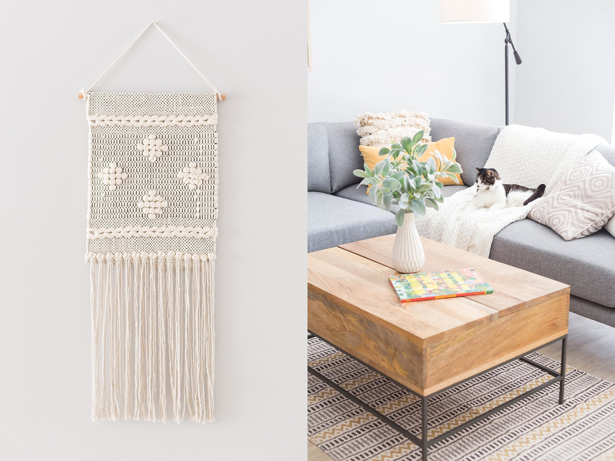 Woven rug and wall accent