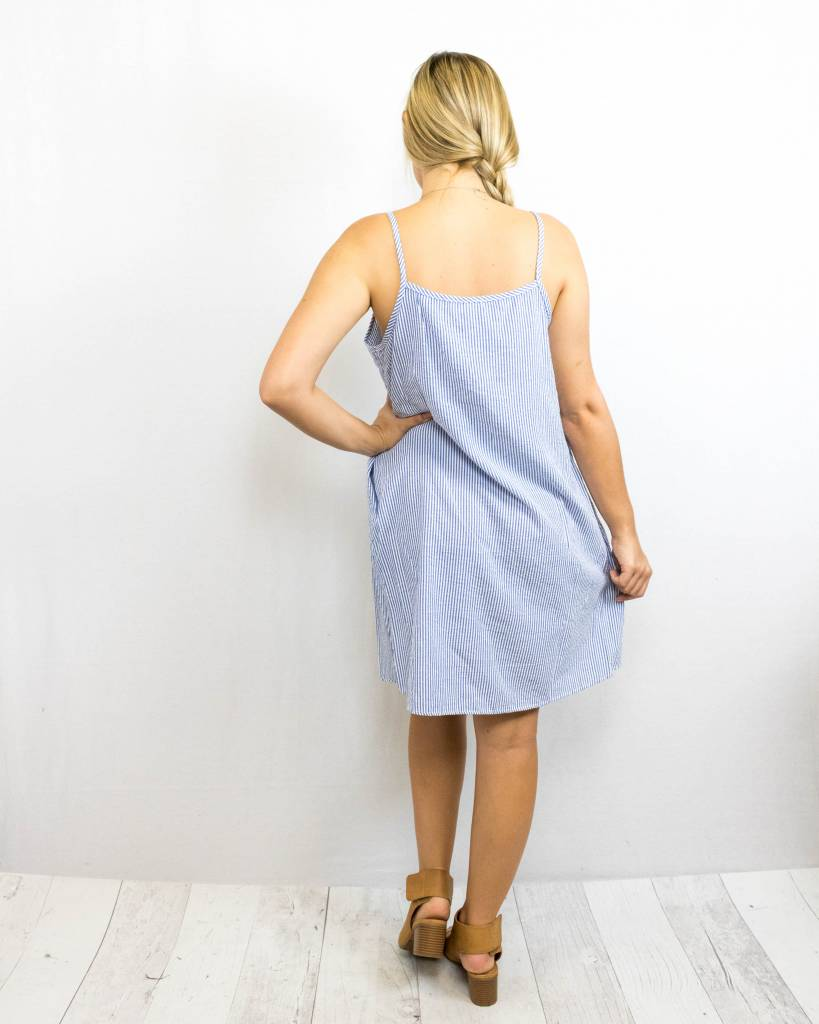 Blue Striped Embroidered Dress