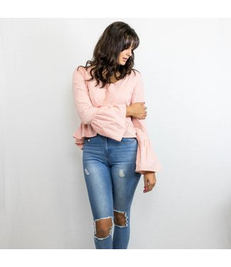 Pink Embroidered Long Sleeve Top
