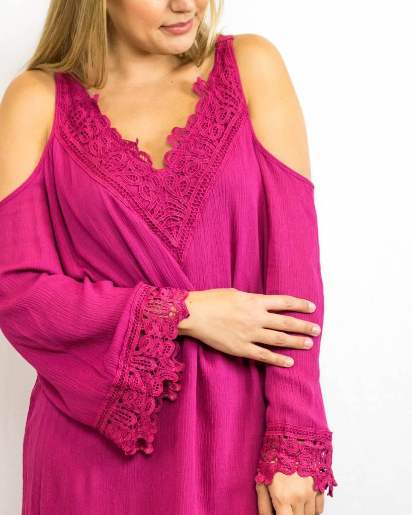 Pink Crochet Cold Shoulder Dress