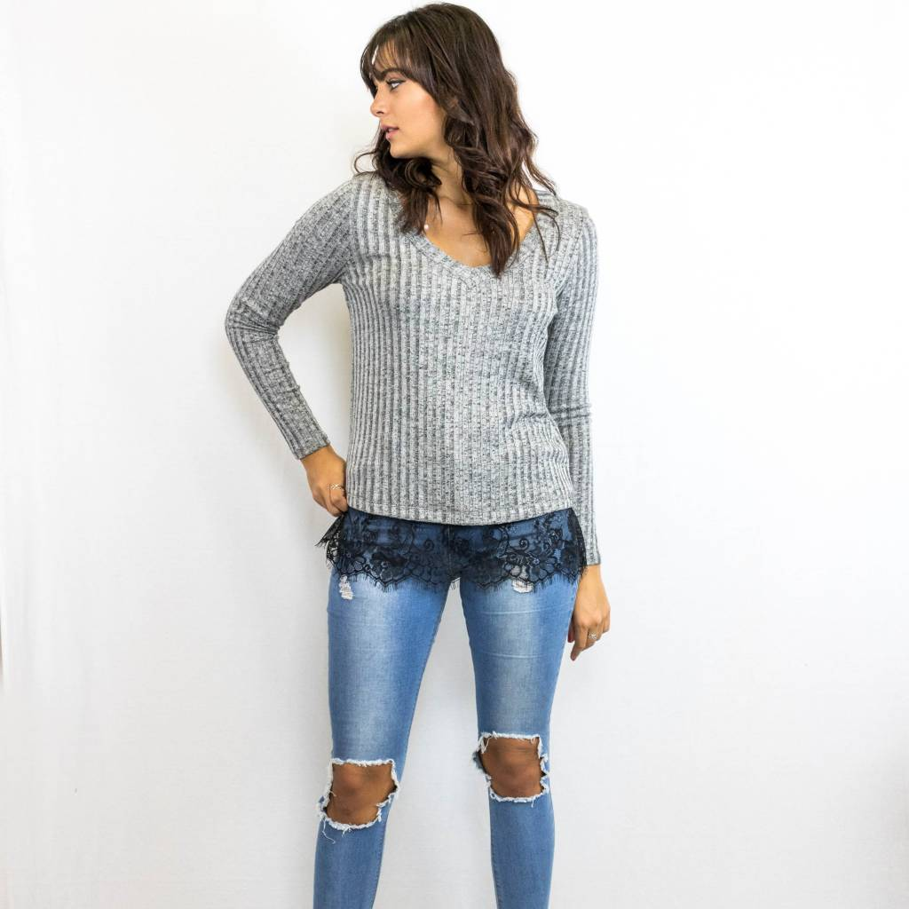 Grey Cable Knit Sweater