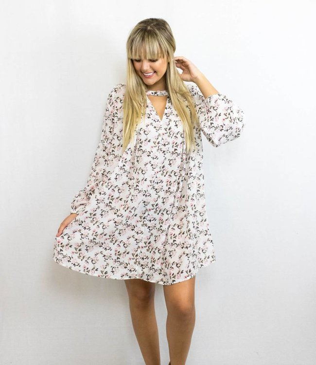 White Floral Keyhole Dress