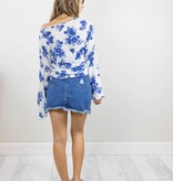 Blue Floral Long Sleeve Top