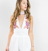 White Floral Patch Romper