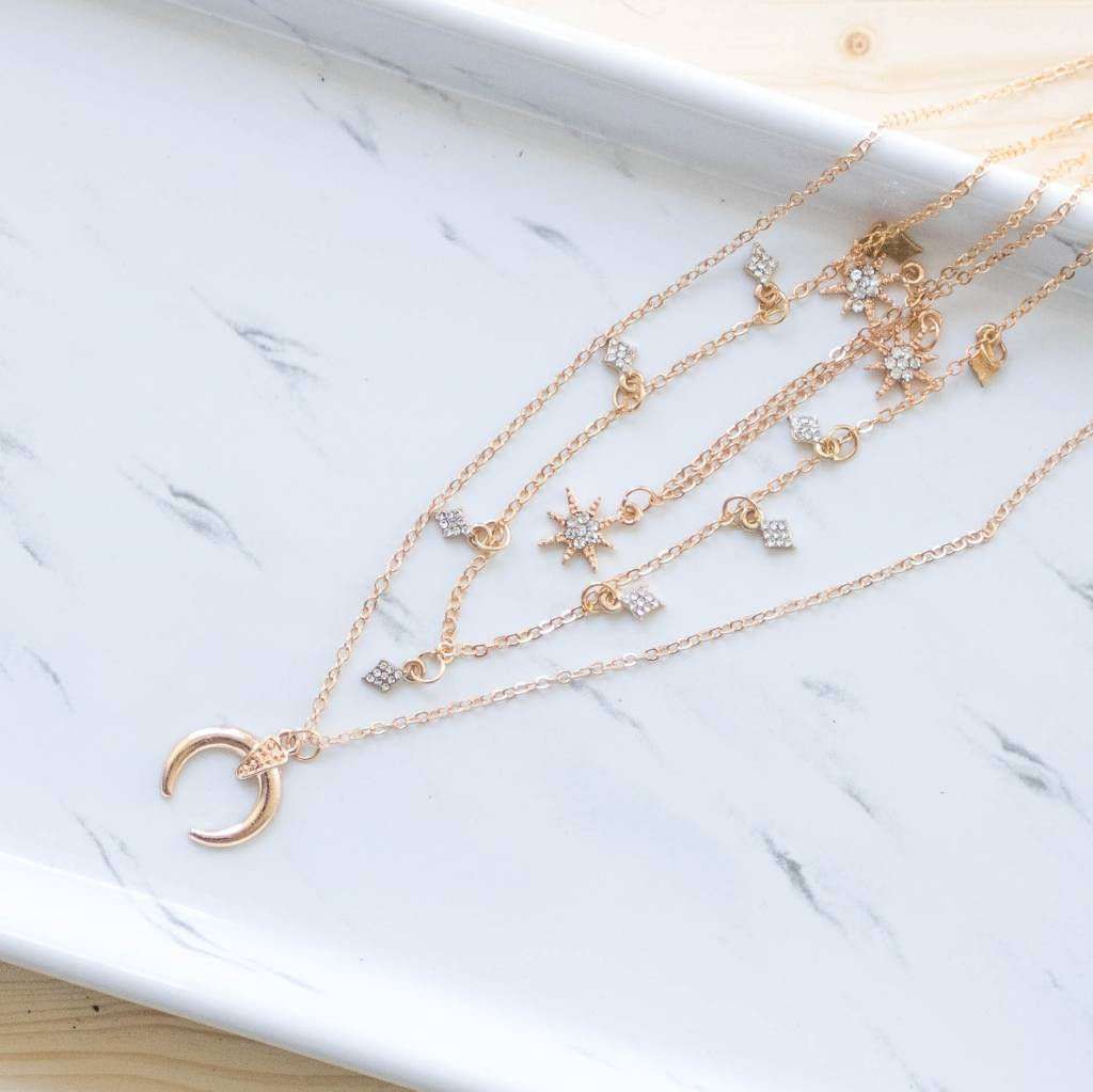 Star, Diamond and Moon Layered Necklace