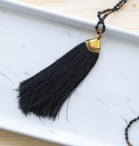 Black and Gold Beaded Tassel Necklace